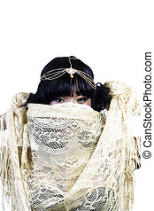 African American Woman With Gold Cloth Covering Face
