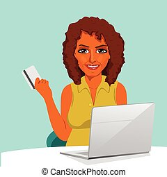 african american woman with laptop shopping on line holding credit card
