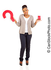 african american woman with question mark