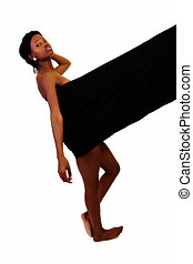 African American Woman Wrapped In Black Cloth