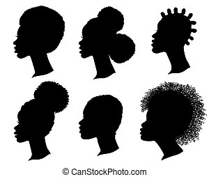 African American women profile black silhouette. Set of vector heads isolated on white