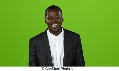 African american wonderful guy, his smile conquers all, and laughter is contagious. Green screen