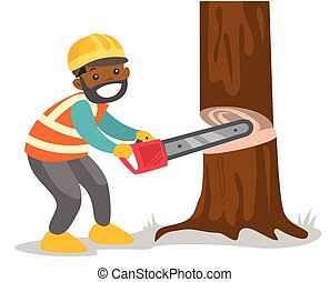 African-american woodcutter working with chainsaw