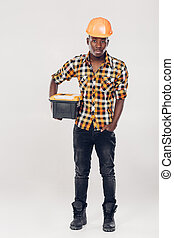 African American worker with tool box