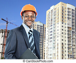 african american young Man architect on a building...