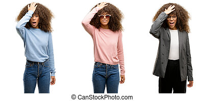 African american young woman wearing different outfits...
