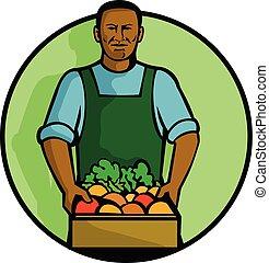 african-american_green-grocer-frnt-AM - Mascot illustration...