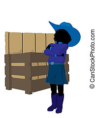 African AmericanTeen Cowgirl Illustration - African american...