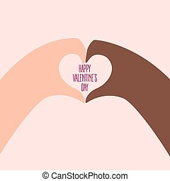 African and american hands make heart on valentine day