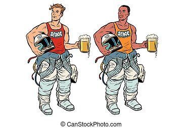 African and Caucasian cosmonaut with a beer