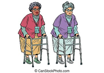 African and Caucasian old ladies with walker