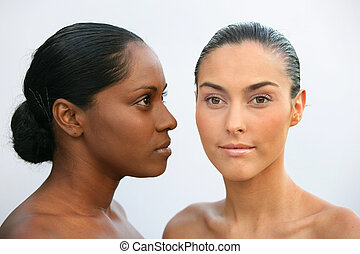 African and Caucasian women