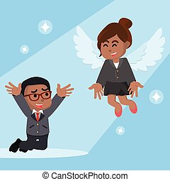 African angel businesswoman helping businessman