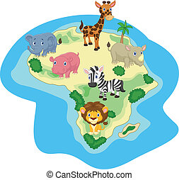 African animal cartoon - Vector illustration of African...