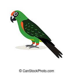 African animal, colorful green parrot lovebird icon isolated on white background, vector illustration in flat style.