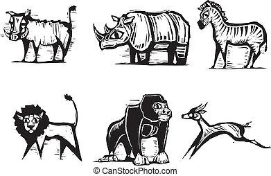 African Animal Group #2 - African Animal Group in a woodcut...