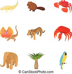 African animal icons set, cartoon style
