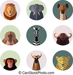 African animal round flat icons