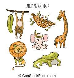 AFRICAN ANIMALS Cute Cartoon Circus Hand Drawn Vector Set