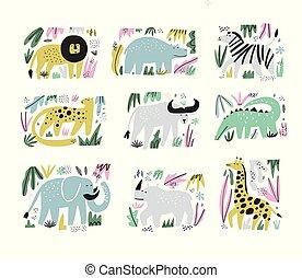 African animals hand drawn flat illustrations set