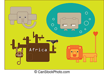 African animals -  colored stylized animals