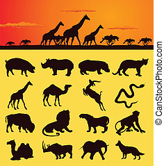 Set of silhouettes of animals from africa. A vector illustration
