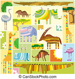 African Animals Tetris Collage with Random Colors Block