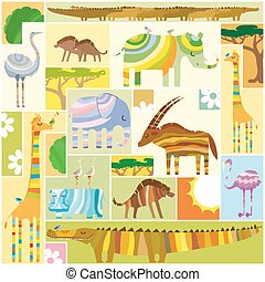 African Animals Tetris Collage
