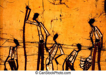 African Art Batik - A digital image of an African batik art...