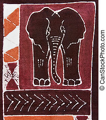 African art - Elephant and traditional african motifs ...