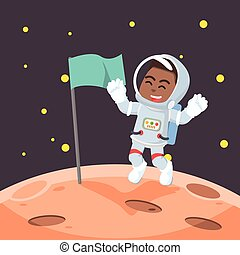 African astronaut putting the flag