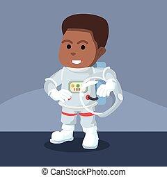 African astronaut removed his helmet