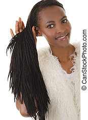 African attractive woman with long dreadlocks