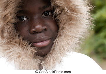 African autumn portrait - Happy foster children in the...