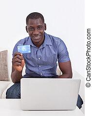 african bábu, noha, hitelkártya, és, laptop