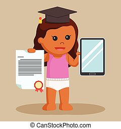 African baby girl with bachelor awards and tablet