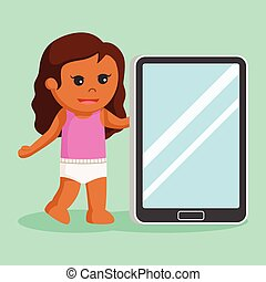 African baby girl with giant tablet