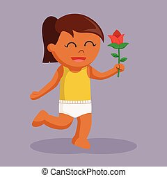 African baby girl with rose flower