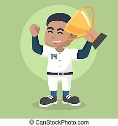African baseball player holding trophy