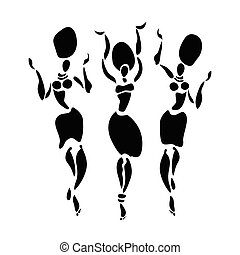 African Beautiful Women - African dancers. Dancing woman in...