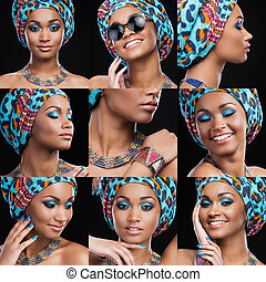 African beauty. Collage of beautiful young African woman in ethnic style expressing different emotions while standing against black background