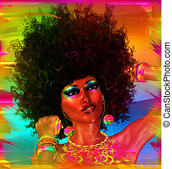 African Beauty with colorful makeup and afro hairstyle. A colorful abstract background adds to the beauty of this close up face.