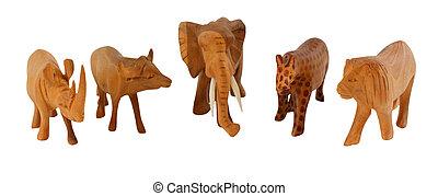 African big 5 in wood - African big 5 wooden figures, ...