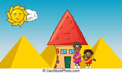 african black boy cartoon with mother and house on pyramid background