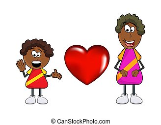 african black boy cartoon with mother and heart isolated on white background