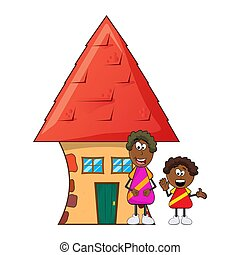 african black boy cartoon with mother and house isolated on white background