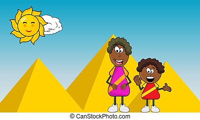 african black boy cartoon with mother on pyramid background