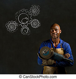 African black man industrial worker with hamster gears