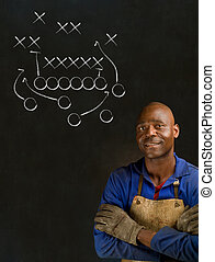 African black man industrial worker with game plan