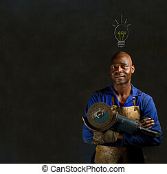 African black man industrial worker with chalk light bulb